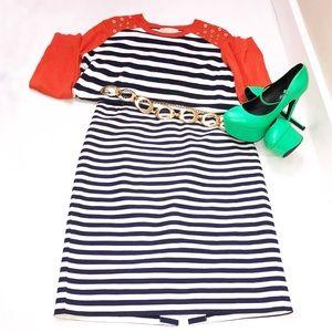 J. Crew Blue & White Stripe Pencil Skirt Sz 6